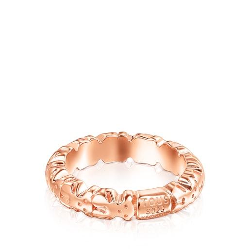 Ring Straight XL aus rosa Vermeil-Silber