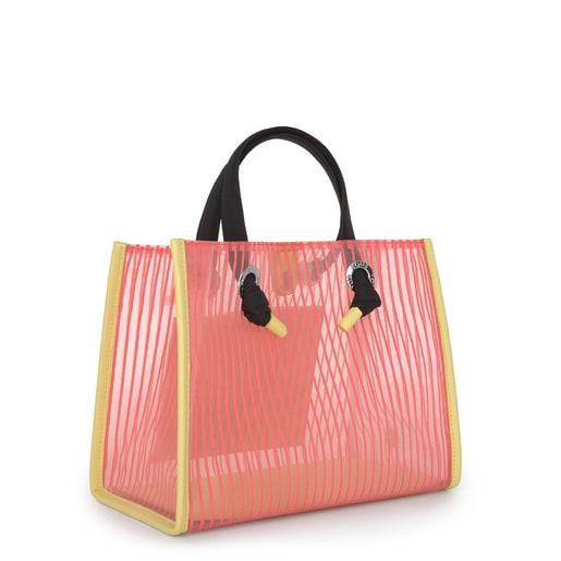 Sac shopping Amaya moyen de couleur corail