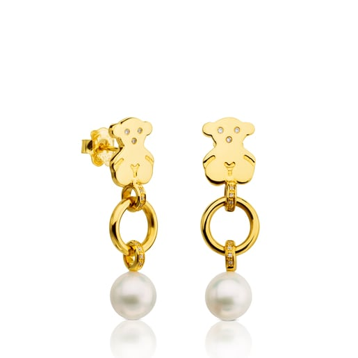Gold Sweet Dolls Earrings with Diamond and Pearl