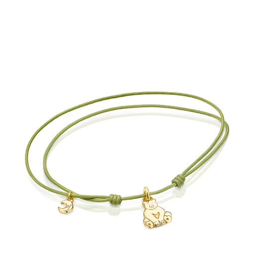 Silver Vermeil Save bear Bracelet with green Cord