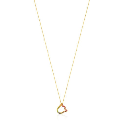Gold Icon Necklace with multicolor Gemstones little Tulip motif