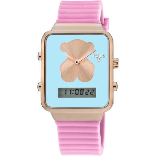 Reloj digital I-Bear de acero IP rosado con correa de silicona rosa