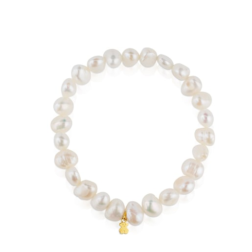 Gold Sweet Dolls Bracelet with baroque pearls and Bear motif