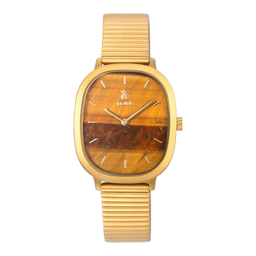 Heritage Gems watch in gold-colored IP steel with a Tiger's eye sphere