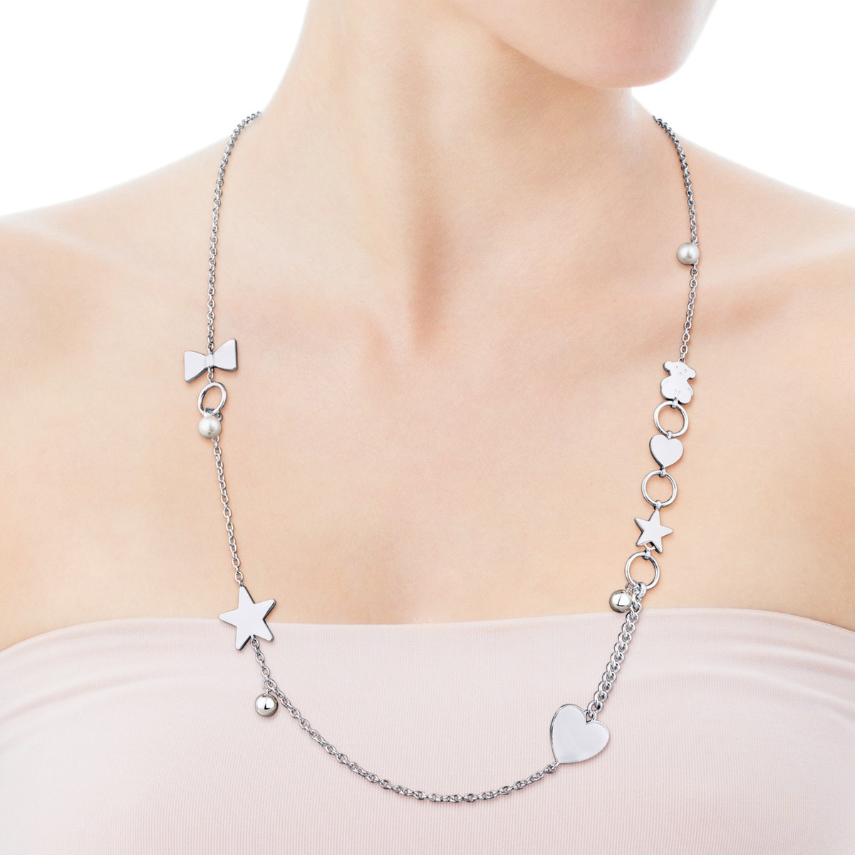 Silver Sweet Dolls Necklace with Pearl