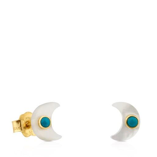 Ohrringe Super Power aus Gold und Perlmutt mit Türkis