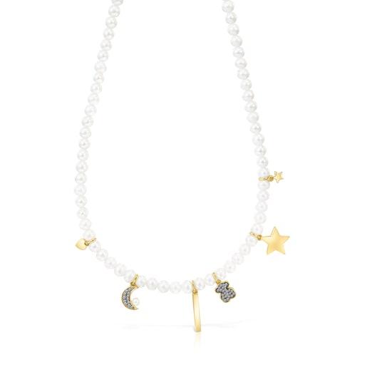 Colar Nocturne de Pérolas, Prata Vermeil e Diamantes