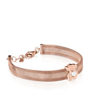 Wide rose IP Steel and rose Gold Vermeil Real Sisy Bracelet with Pearl