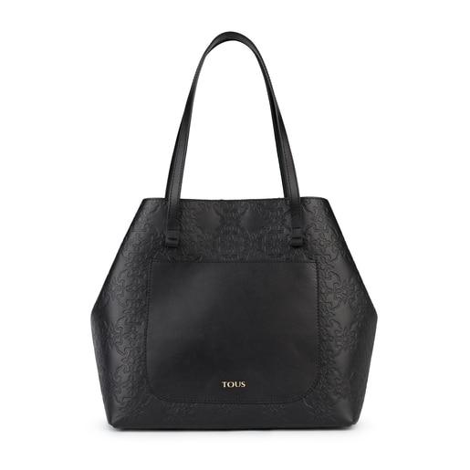 Τσάντα μεγάλου μεγέθους Mossaic από δέρμα σε μαύρο χρώμα