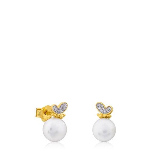 Boucles d'oreilles Bear en Or avec Perle et Diamants.