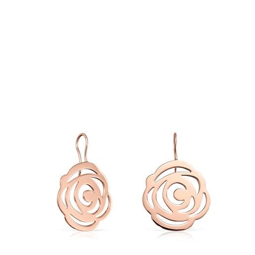 Boucles d'oreilles Rosa de Abril courtes en Or Vermeil rose