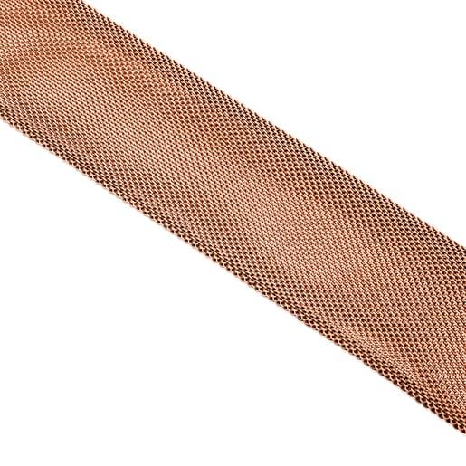 Pulseira Icon Mesh em Aço e Prata Vermeil rosa