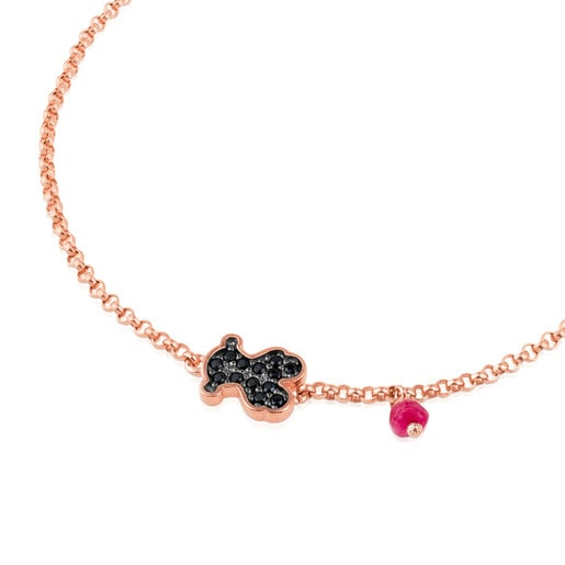 Rose Vermeil Silver TOUS Motif Bracelet with spinel and ruby Bear motif