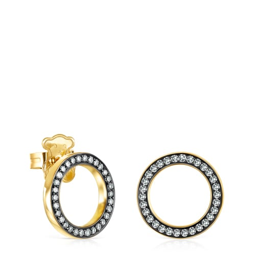 Nocturne disc Earrings in Silver Vermeil with Diamonds