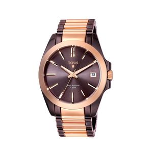 Two-tone pink/chocolate IP Steel Drive Combi Watch