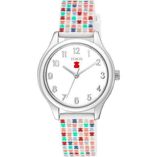 Reloj Tartan Kids de acero con correa de silicona multicolor