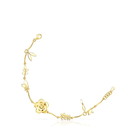 Silver Vermeil Fragile Nature flowers Bracelet with Pearl