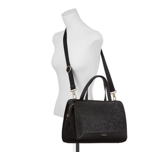 Τσάντα τύπου μπόουλινγκ Lake από δέρμα σε μαύρο χρώμα