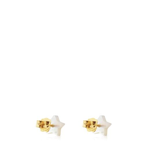 Ohrringe Super Power aus Gold und Perlmutt mit Lapislazuli