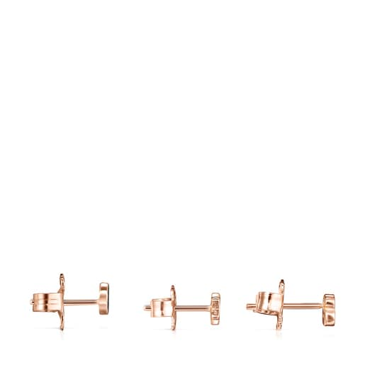 Pack de Aretes Motif de Plata Vermeil rosa con Espinelas