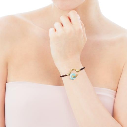 Pulsera Hold Gems de Plata Vermeil y Cuero con Amazonita