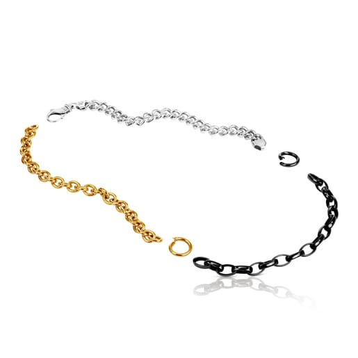 Dark Silver, Silver and Silver Vermeil Hold Mix Necklace