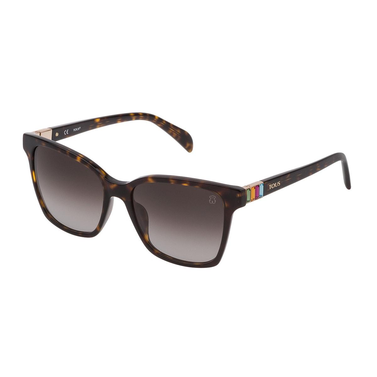 Brown Acetate Gems Squared Sunglasses