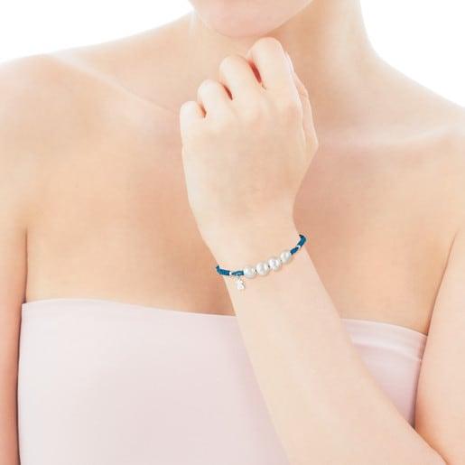 TOUS Basics blue cord bracelet with pearls