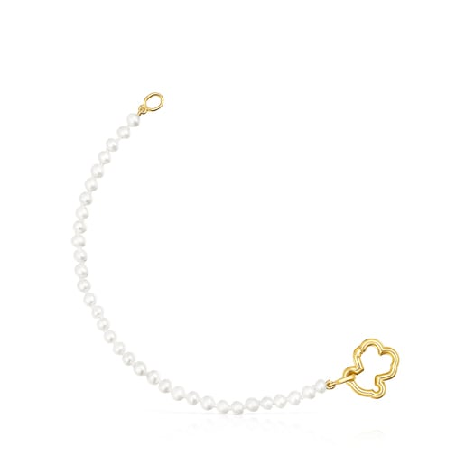 Gold Hold Bear Bracelet with Pearls
