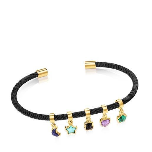 Armband Glory aus Vermeil-Gold mit schwarzem IP-Stahl und Edelsteinen