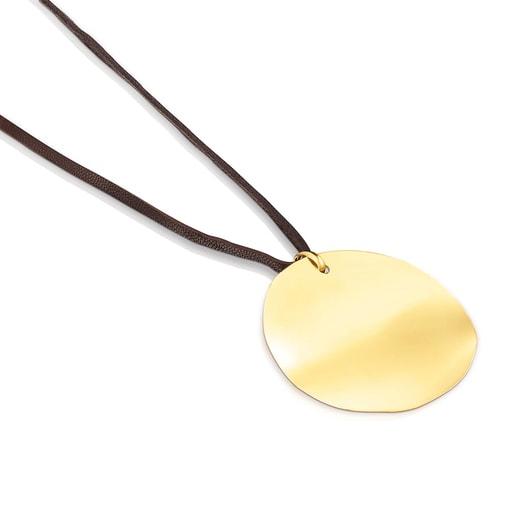 Collar Nenufar pétalo de plata vermeil y cordón marrón