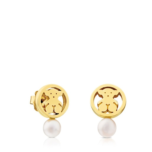 Camille Earrings in Gold with Pearl.
