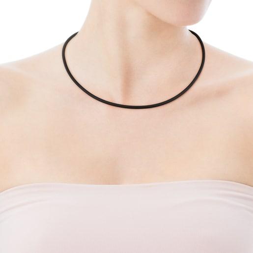 Cadena mediana TOUS Chokers de Caucho en color negro de 3mm, 50cm.