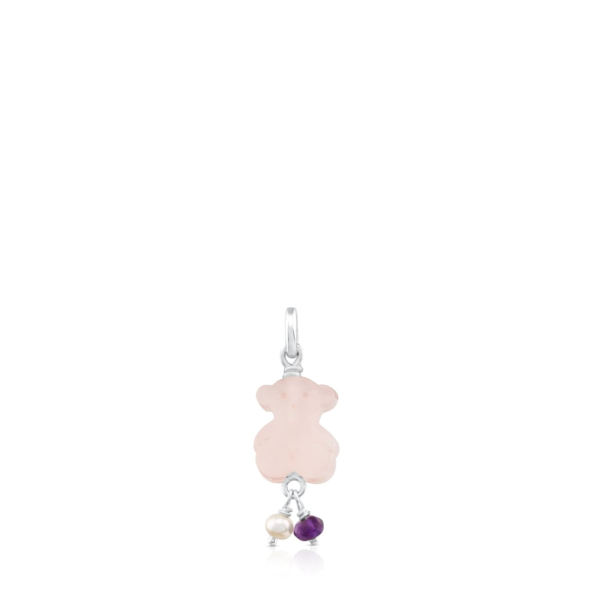 Colgante Toussi oso de cuarzo rosa