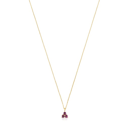 Gold Luz Necklace with Rhodolite