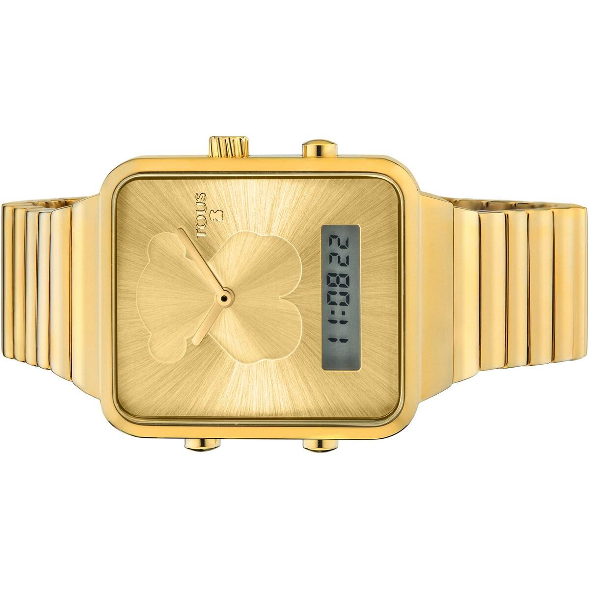 gran descuento 7b5d7 1437c Reloj digital I-Bear de acero IP dorado
