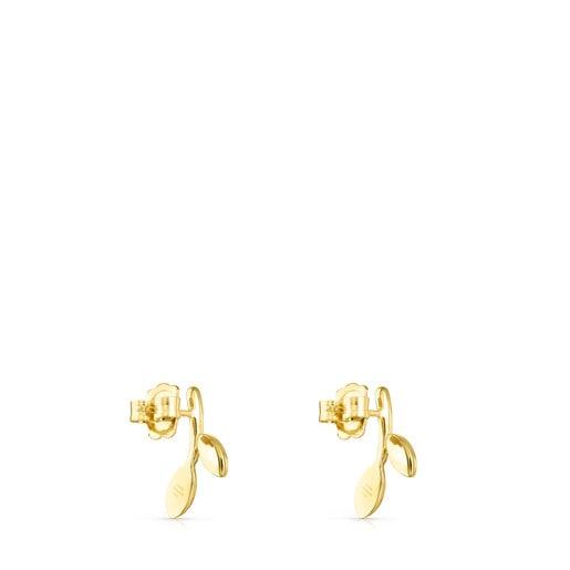 Vermeil Silver with Gemstones Real Mix Leaf Earrings