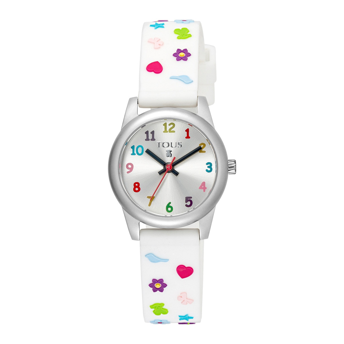 Steel Cookies Watch with white Silicone strap