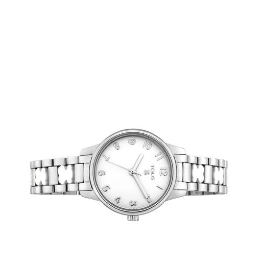 Relógio Beary em aço com bracelete de ursos brancos