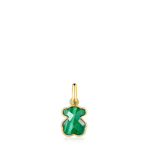 Silver Vermeil and Malachite Icon Color Pendant