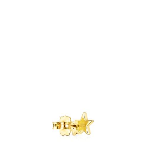 1/2 Pendiente Teddy Bear de plata vermeil y gemas
