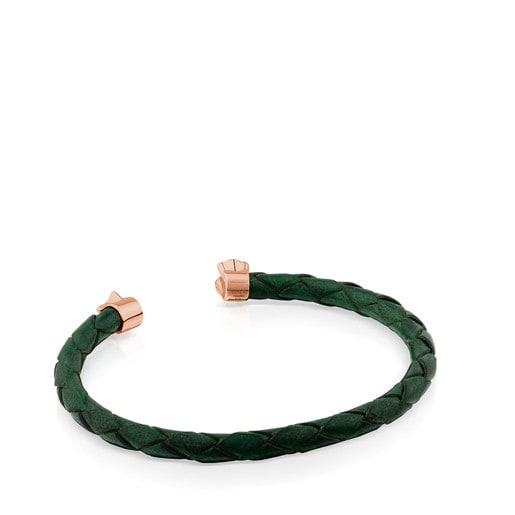 Armband Super Power aus grünem Leder mit rosa Vermeil-Silber und Perle