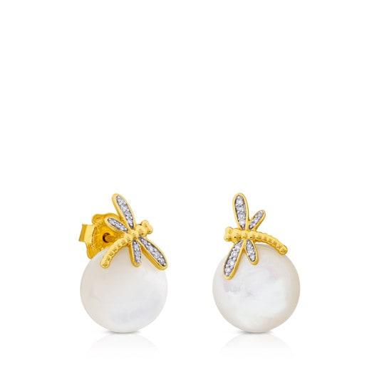 Pendientes Bera de Oro con Nácar y Diamantes