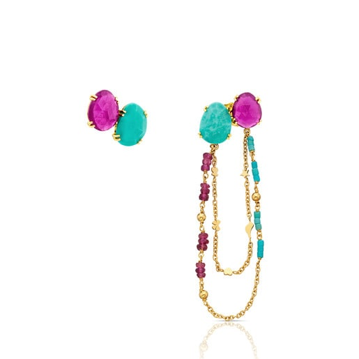 Gold Miamix earings with Ruby and Turquoises