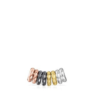 Pack of Silver, Gold Vermeil, rose Gold Vermeil and Dark Silver Hold Rings