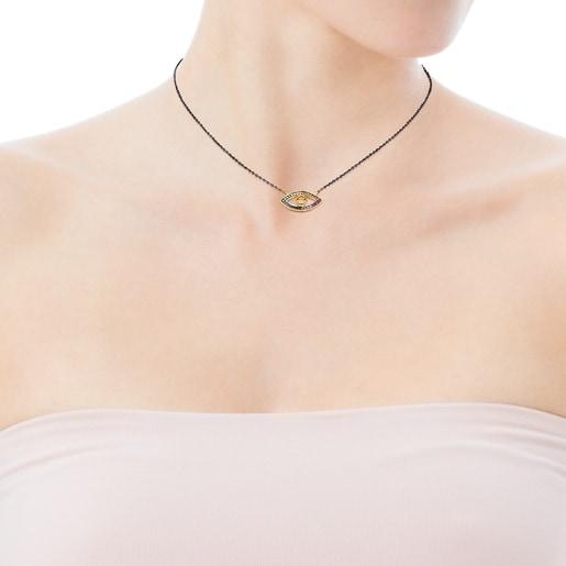 Halskette TOUS Good Vibes Auge aus Vermeil-Silber und Dark Silver mit Edelsteinen