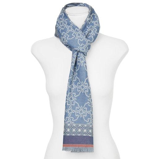 Foulard Mossaic en color azul-coral