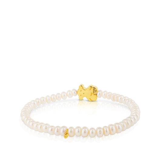Gold Sweet Dolls Bracelet with pearls and medium Bear motif