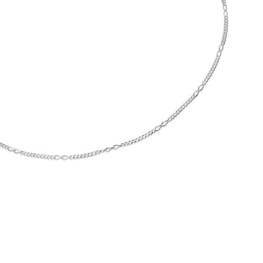 Collier ras du cou TOUS Chain en Argent mix maille forçat, 35cm.