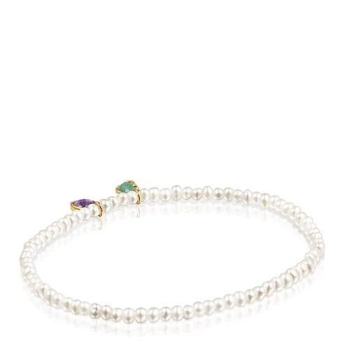 Pulsera Glory de Perlas y Plata Vermeil con Amazonita y Amatista